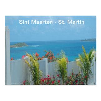 Cartão Postal Sint Maarten - Seascape do azul de oceano de St