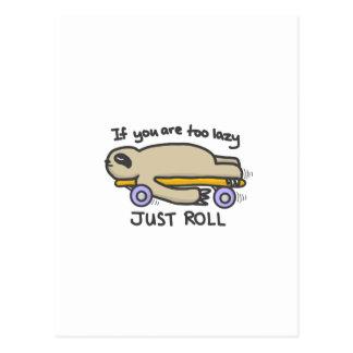 Cartão Postal Skateboarding da preguiça