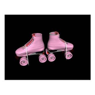 Cartão Postal Skates de rolo do rosa quente