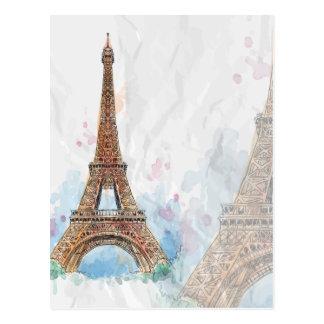 Cartão Postal Sketched coloriu ideia de Paris da torre Eiffel a