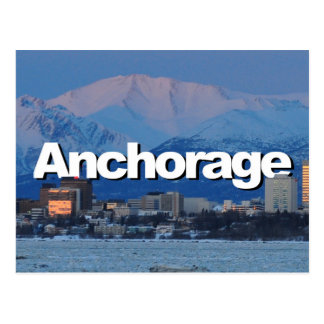 Cartão Postal Skyline de Anchorage Alaska com o Anchorage no céu