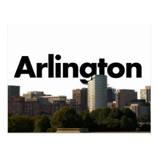 Cartão Postal Skyline de Arlington TX com a Arlington no céu