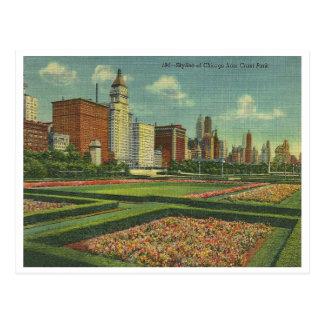 Cartão Postal Skyline de Chicago do vintage