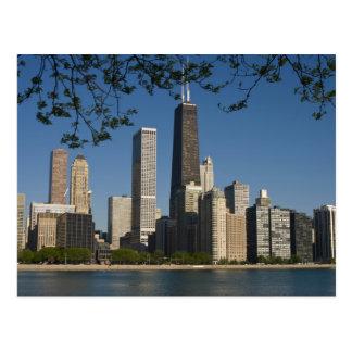 Cartão Postal Skyline de Chicago e costa do Lago Michigan, lago