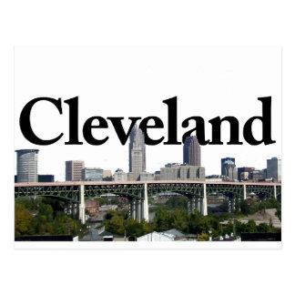Cartão Postal Skyline de Cleveland Ohio com o Cleveland no céu