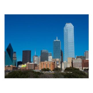 Cartão Postal Skyline de Dallas Texas no por do sol