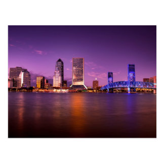 Cartão Postal Skyline de Jacksonville Florida na noite