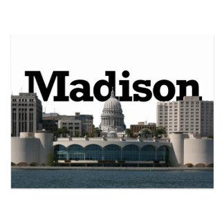 Cartão Postal Skyline de Madison Wisconsin com o Madison no céu