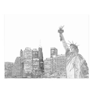 Cartão Postal Skyline de Manhattan e a estátua da liberdade