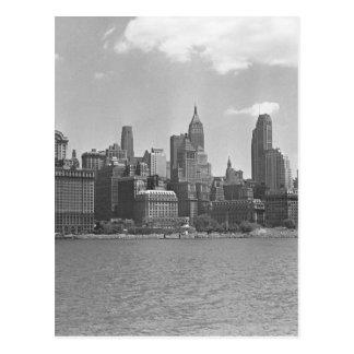 Cartão Postal Skyline de Manhattan New York EUA B&W