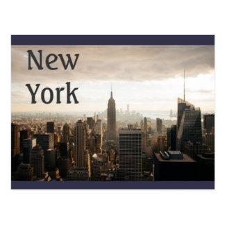 Cartão Postal Skyline de New York - crepúsculo - cinza