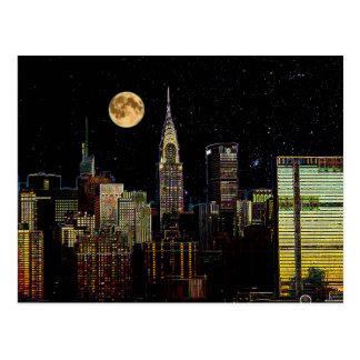 Cartão Postal Skyline de New York na noite com Lua cheia