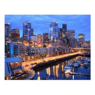 Cartão Postal Skyline de Seattle e porto, estado de Washington