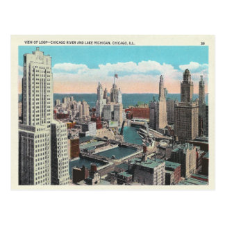Cartão Postal Skyline do laço de Chicago do vintage