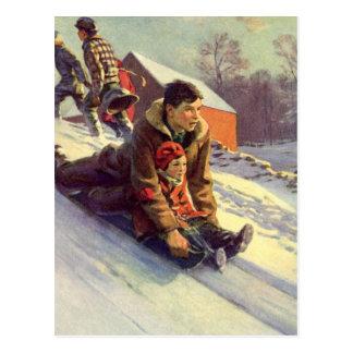 Cartão Postal Sledding do natal vintage, do pai e da filha