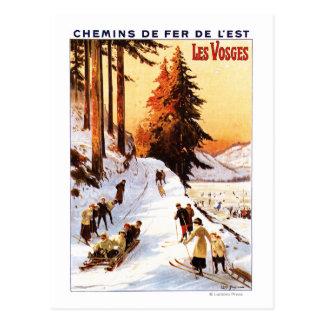 Cartão Postal Sledding e esquiar no poster de Vosges