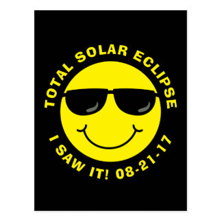 Cartão Postal Smiley face legal total do eclipse solar