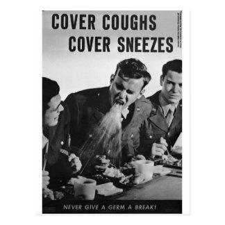 Cartão Postal Sneezes do cobrir das tosses do cobrir