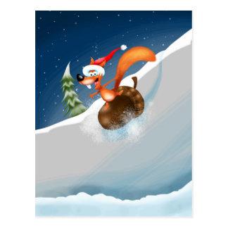 Cartão Postal Snowboarding do esquilo