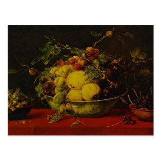 Cartão Postal Snyders-Frutas de Frans em uma bacia em um