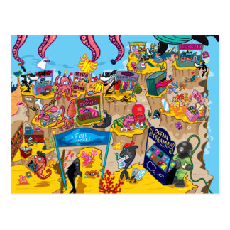 Cartão Postal Sob o mercado do mar