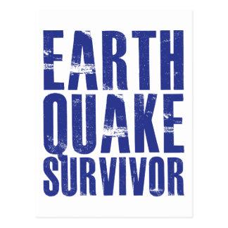 Cartão Postal Sobrevivente do terremoto - azul