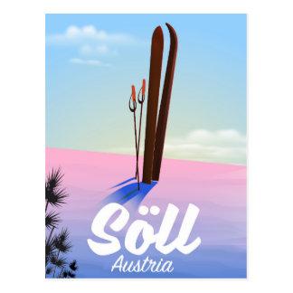 Cartão Postal Söll, poster de viagens do esqui de Áustria