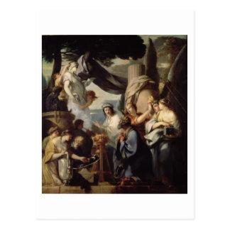 Cartão Postal Solomon que faz um sacrifício aos ídolos