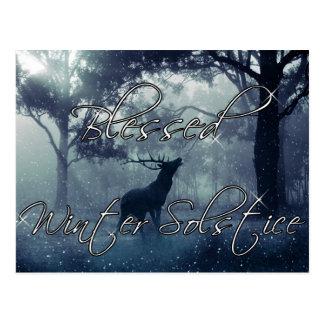 Cartão Postal Solstício de inverno abençoado veado da floresta