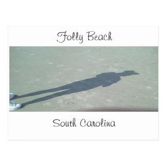 Cartão Postal Sombra na praia do insensatez, SC, South Carolina,