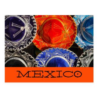 Cartão Postal Sombreros mexicanos coloridos