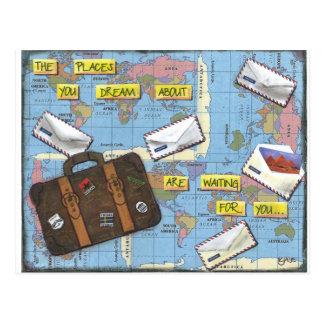Cartão Postal Sonho do viagem - trabalhos de arte dos meios