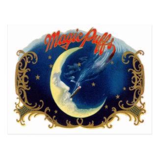 Cartão Postal Sopro mágico da etiqueta da caixa de charuto do