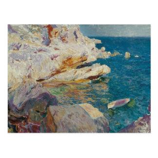 Cartão Postal Sorolla-Rocha de Joaquin de Javea e do barco