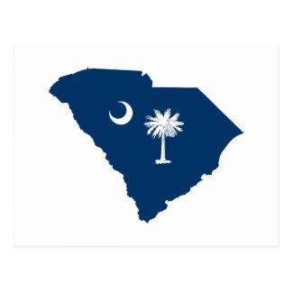 Cartão Postal South Carolina em azul e em branco