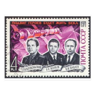 Cartão Postal Soyuz 11 em Memoriam