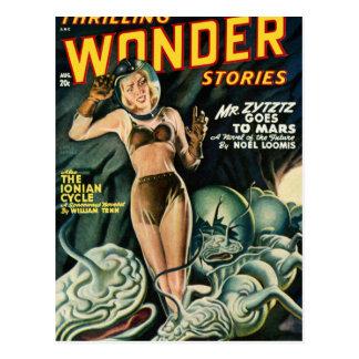 Cartão Postal Spacegirl luta monstro do limo