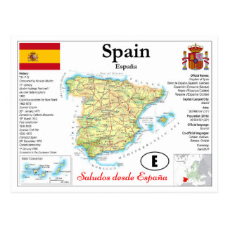 Cartão Postal Spain Map Postcard