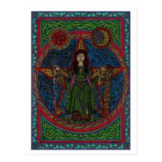 Cartão Postal spellcraft do pentagram 001 do hedgewitch