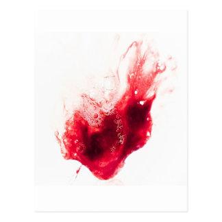 Cartão Postal Splatter do sangue da forma do coração