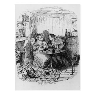Cartão Postal Sr. Bumble e Sra. Corney que toma o chá