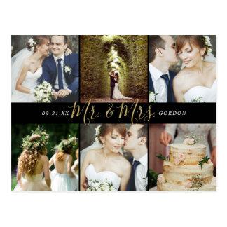 Cartão Postal Sr. e Sra. Foto Colagem Casamento Agradecimento