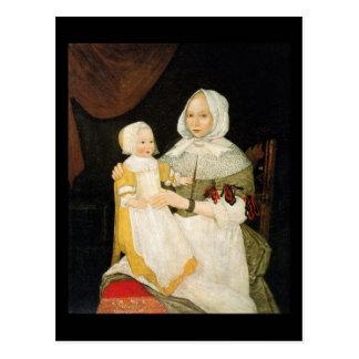 Cartão Postal Sra. Elizabeth Freake e bebê Mary, CA 1671-1674