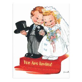 Cartão Postal Sra. futura e Sr. dos desenhos animados cómicos