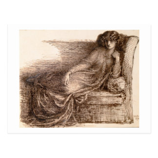 Cartão Postal Sra. Jane Morris Reclining em um sofá