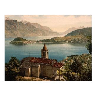 Cartão Postal St. Angelo e vista de Capello de Bellagio, lago