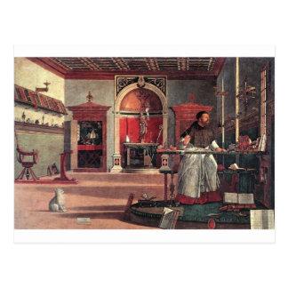 Cartão Postal St Augustine em seu estudo - Vittore Carpaccio