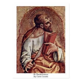 Cartão Postal St Bartholomew por Carlo Crivelli
