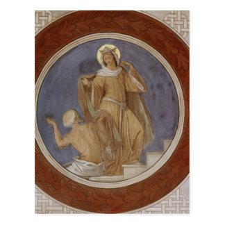 Cartão Postal St. Elisabeth que dá seu casaco a um mendigo