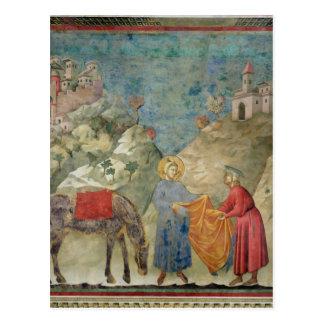 Cartão Postal St Francis dá seu casaco a um desconhecido